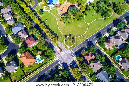 Straight Down Drone Angle High Above Suburb Neighborhood With Green Landscape Spring Time View Of In