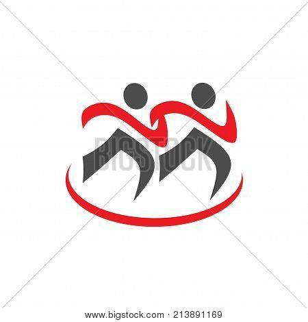 running Sport icon, Fitness sign, Jogging people symbol, Vector running logo template