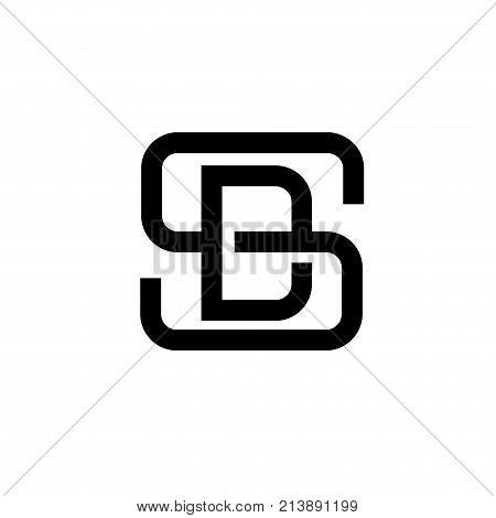 creative monochrome concept letter S, SD, letter DS flat black color logo design
