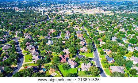 Suburb Aerial Drone View Of Green Summer Neighborhood A High Up View Of The Real Estate Market From