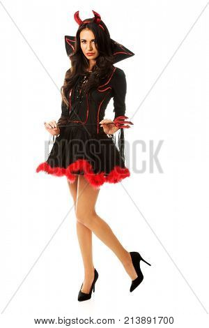 Woman wearing devil clothes, holding trident