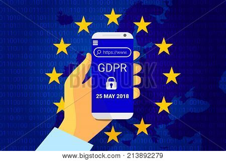Gdpr - General Data Protection Regulation. Security Technology Background. Vector