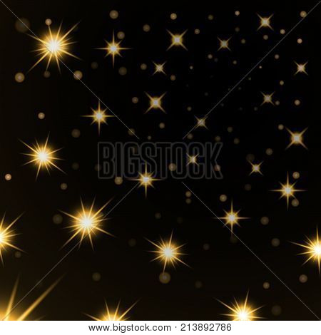 Gold stars black night sky background. Abstract bokeh glowing space design. Starry milky way. Galaxy golden starlight shine sparkle. Golden shiny fantasy glow in dark Vector illustration