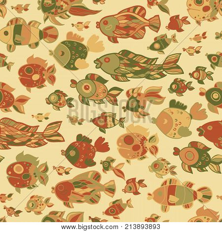 Childish retro pattern childish fishes. Vector illustration.