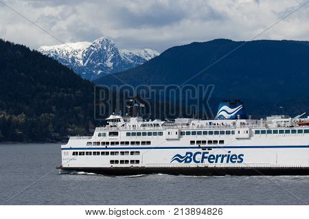 VANCOUVER BC - September 18: A BC ferry crossing Howe Sound to Sunshine Coast on nice and sunny day.