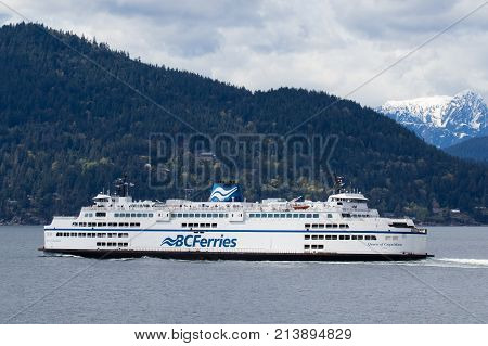 Vancouver, Bc - September 18: A Bc Ferry Crossing Howe Sound To Sunshine Coast On Nice And Sunny Day
