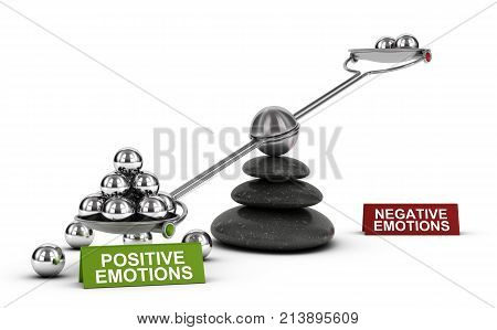 3D illustration of a seesaw with metal spheres with the words positive and negative emotions over white background. Concept of mental and emotional well-being.