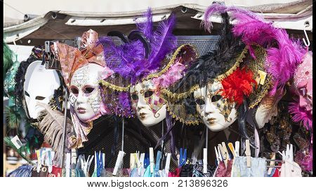 VENICE ITALY SEPTEMBER 21 2017 : Original venetian mask street shop. The Venetian carnival tradition is most famous for its distinctive masks