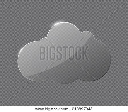 Transparent cloud glass. Vector glass bubble speech