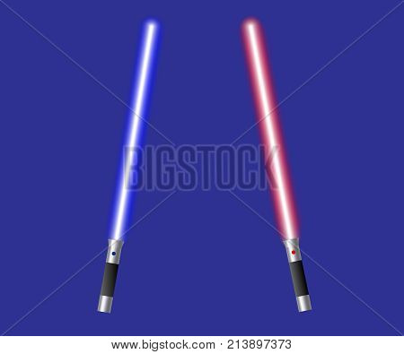 Blue and Red Crossing Lasers. Two Light swords