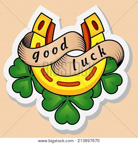 Sketch of old school tattoo. A sketch of a golden horseshoe tattoo with clover leaves and a sign of luck. The sketch is made in warm colors. Hipster youth old school picture for boys and girls