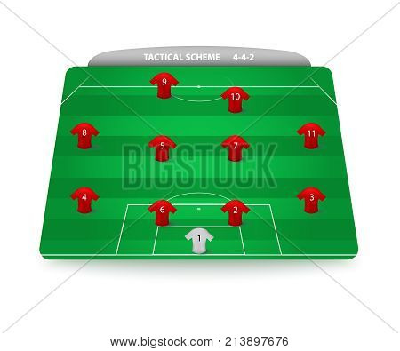 Tactical scheme of football. Soccer team formation