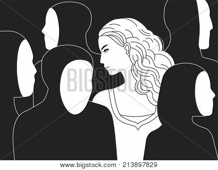 Beautiful sad long-haired woman surrounded by black silhouettes of people without faces. Concept of loneliness in crowd, alienation, estrangement, indifference. Monochrome vector illustration