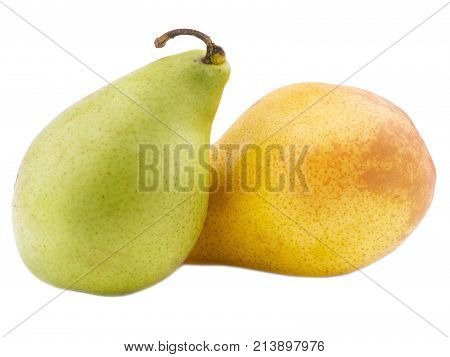 Two juicy, useful with vitamins pears green and yellow close-up on white isolated background