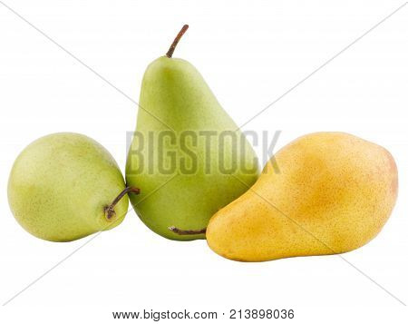 Pear in the middle of the green stands on two on each side green and yellow lie on a white isolated background