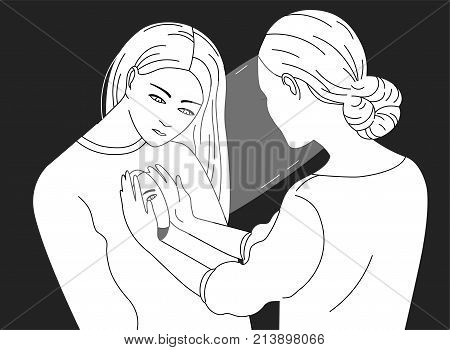 Female character looking inside another woman. Concept of psychotherapy, psychoanalysis, psychotherapeutic work, psychological aid, mental health care. Vector illustration in black and white colors