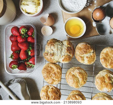 Baking scones at home shoot