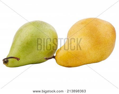 Two pears yellow and green useful for health colors turned to the left on a white isolated background