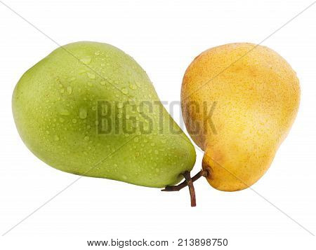 Two pears are yellow and green. Green pear in drops of water on a white isolated background