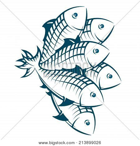 A flock of fish silhouetted seafood symbol