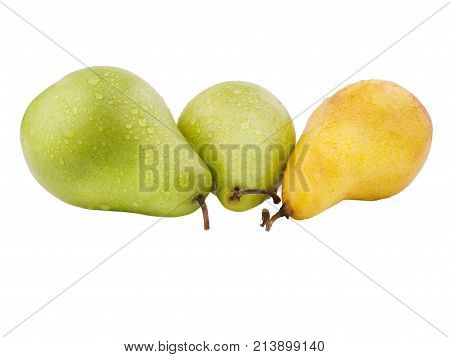 Three pears next to the drops of water. Two green bagata with pear and yellow vitamins yellow juicy pear on white isolated background