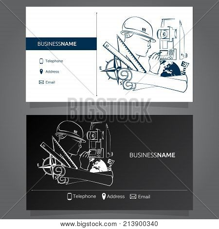 Business card concept of Geodesy and Cartography