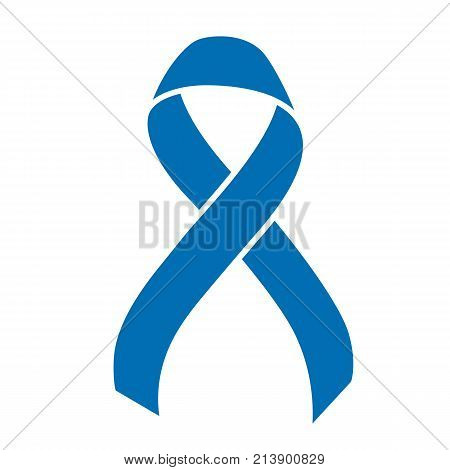 Blue ribbon, world prostate cancer day symbol in november, vector illustration. Poster for cancer awareness month.