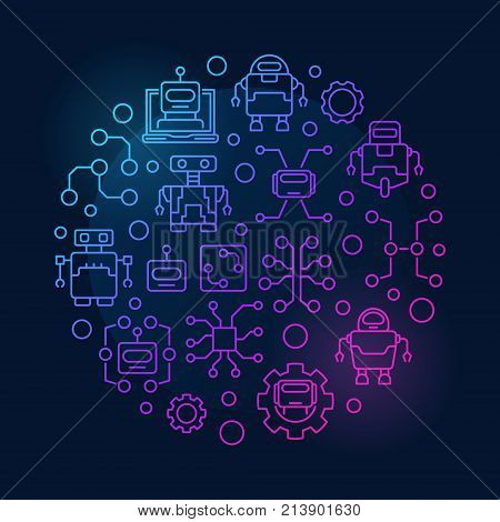 Artificial intelligence round colorful illustration - vector technology concept symbol made with robots and AI icons on dark background