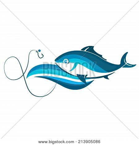 Fish on wave and hook symbol for fishing