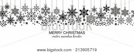 Festive seamless snowflake border isolated on white background, Christmas design for postcard or greeting card. Vector illustration, merry xmas flake header or banner, wallpaper or backdrop decor