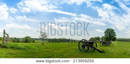 Historic Cannon Artillery Overlooking Landscape Panorama