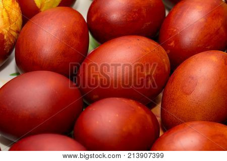 red eggs on Orthodox Easter . Photo of an abstract texture