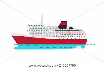 Seagoing ship vector illustration for travelling with passengers icon. Spacious luxury cruise liner big red steamer on water surface isolated on white
