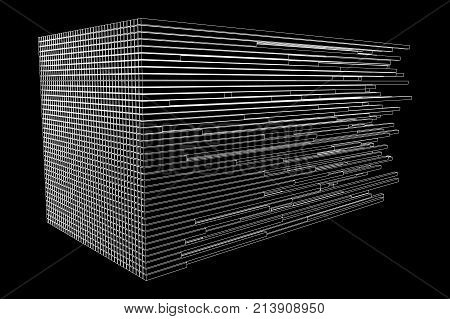 Big data visualization. Machine learning algorithms. Analysis of information. Visual data infographics design. Science and technology wireframe poly mesh vector background