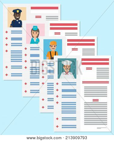 Career information leaflet flat vector. Job resume pages with applicant portrait and personal data. Curriculum vitae or dossier. Profession presentation sheets illustration for labor day concept