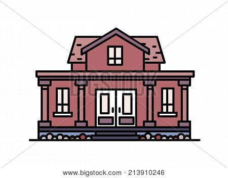 Two-story suburban house with porch and columns built in elegant classic architectural style. Residential building isolated on white background. Colorful vector illustration in line art style