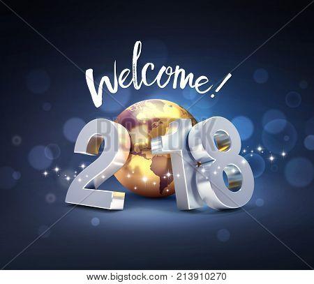 Happy New Year 2018 Worldwide Greeting Card