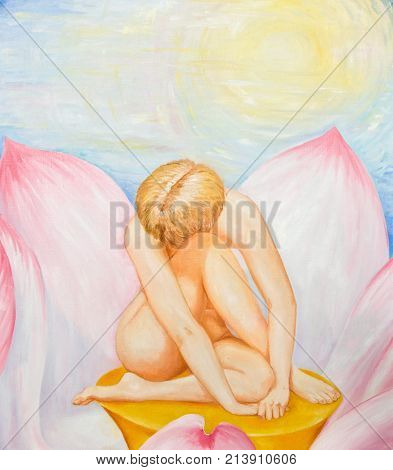 Naked girl in the Lotus. Oil painting.