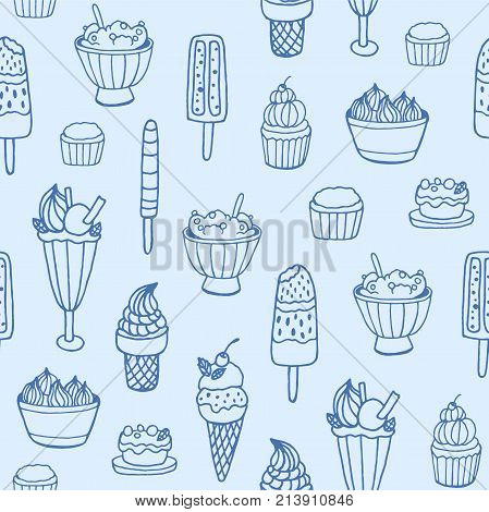 Monochrome seamless pattern with delicious ice cream and milky desserts of various types on white background. Backdrop with tasty sweet meals. Vector illustration for fabric print, wrapping paper