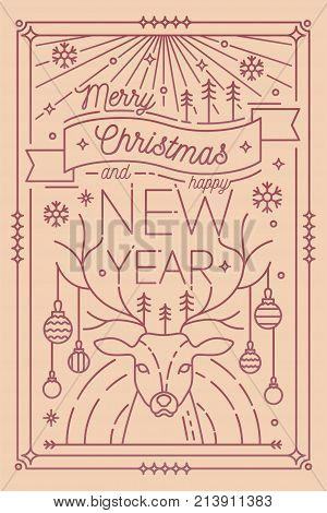 Merry Christmas and Happy New Year greeting card template with festive decorations - deer antlers decorated with baubles, snowflakes, fir trees. Monochrome vector illustration drawn in lineart style