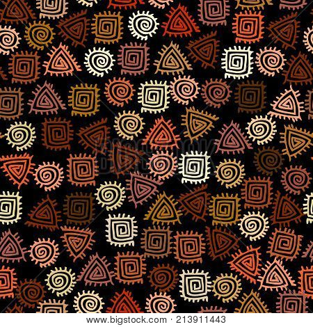 Ethnic boho seamless pattern in african style on black background. Tribal art print. Irregular polka dots pattern.