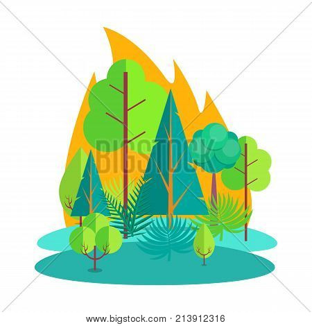Fire in countryside or rural area that engulfed various kinds of combustible trees, bushes and grass isolated vector illustration on white background