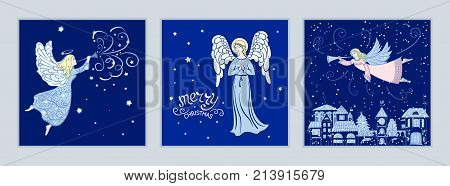 Set of Christmas cards with angels. Design for greeting cards, calendars, banners, posters, invitations. Vector illustration