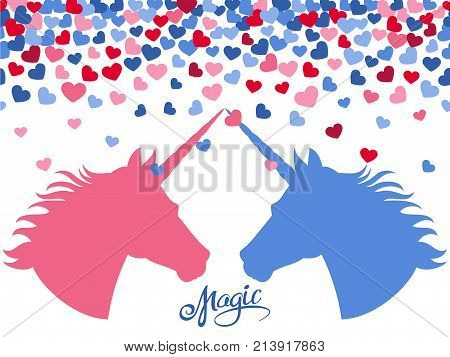 Magic background with falling hearts and two unicorns in love. Vector illustration