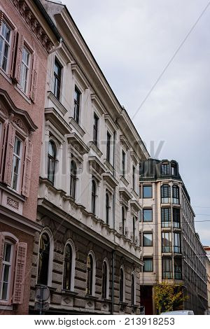 a view on the fassade of some houses in graz