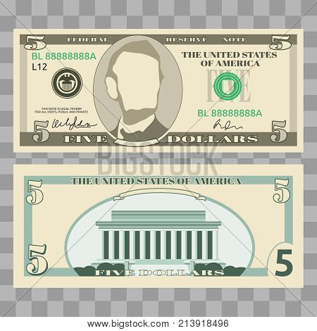 Dollar banknotes, us currency money bills - 5 dollar isolated on transparent background. Vector illustration