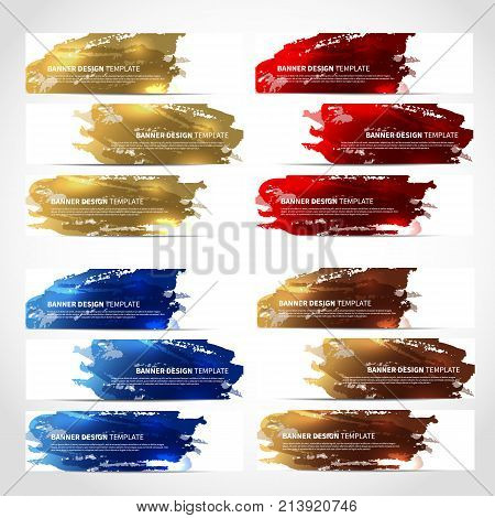 Banners. Set of trendy colorful vector banners template or website headers with watercolor imitation background. Advertising banners with watercolor spots. Design for banner. card, header, background