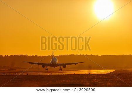 Vacation Holidays Travel Airplane Landing Airport Sun Sunset Plane