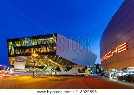 Porsche Museum Stuttgart At Night Germany Logo Modern Architecture Copyspace