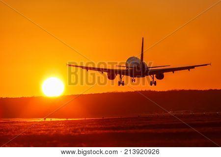 Airplane Airport Aviation Sun Sunset Vacation Holidays Travel Traveling Plane